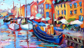 "In Nyhavn, oil on canvas,  14""x 18"", Available"