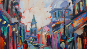 "In Old Montreal, oil on canvas, 12""x 16"", Available"