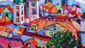 "Prague Roofs, oil on canvas, 12""x 16"", Available"