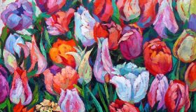 "Tulips, oil on canvas, 24""x 24""x 1.5"", Available"
