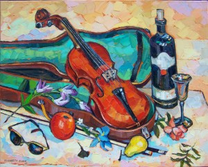 "St-L with Violin, oil on canvas, 24""x 30"""
