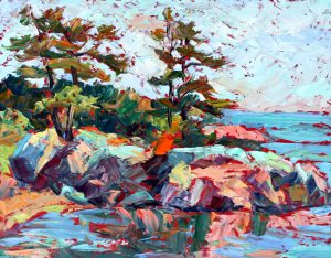 "Killarney view from shore, oil on board, 11""x 14"""
