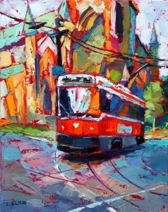 "Toronto Streetcar, oil on canvas, 11""x 14"""