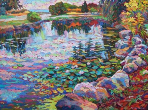 "The Pond in Gairlock gardens, oil on canvas, 30""x 40"""