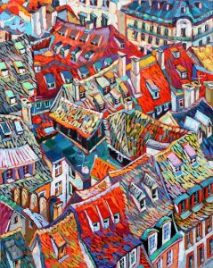 "Beautiful Roofs, oil on canvas, 24""x 30"""