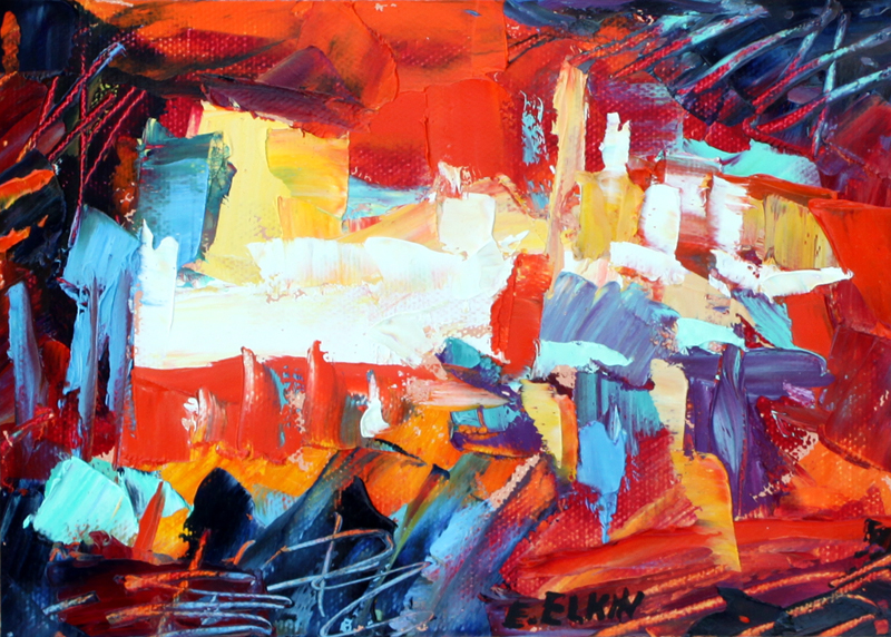 """Abstract Rouge in Paris, oil on non stretched canvas, 5""""x 7"""""""