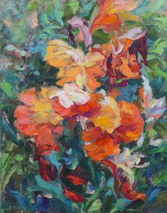 Orange Iris, oil on canvas