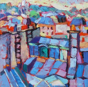 "Paris rooftops, oil on canvas, 8""x 8"""