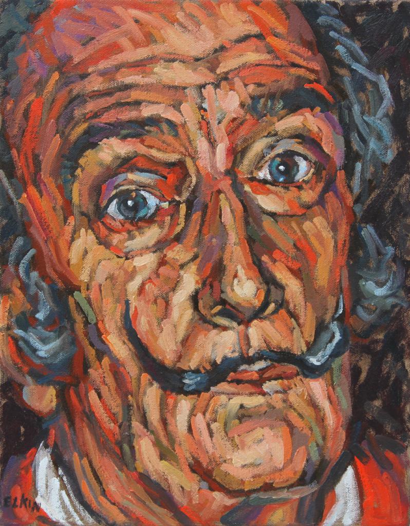 "Portrait of Dali, oil on canvas, 11""x 14"""